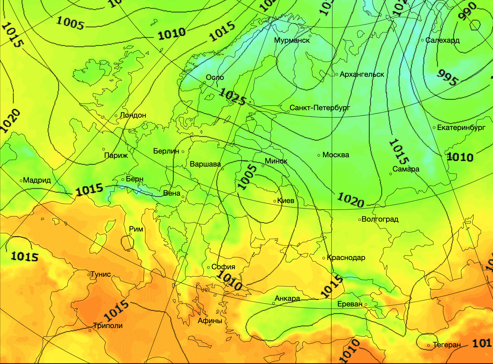 Погода в Европе. Карта: Gismeteo