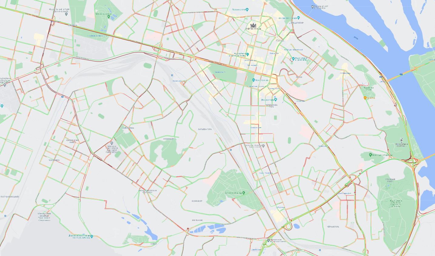 Пробки на правом береге. Карта: Google Maps