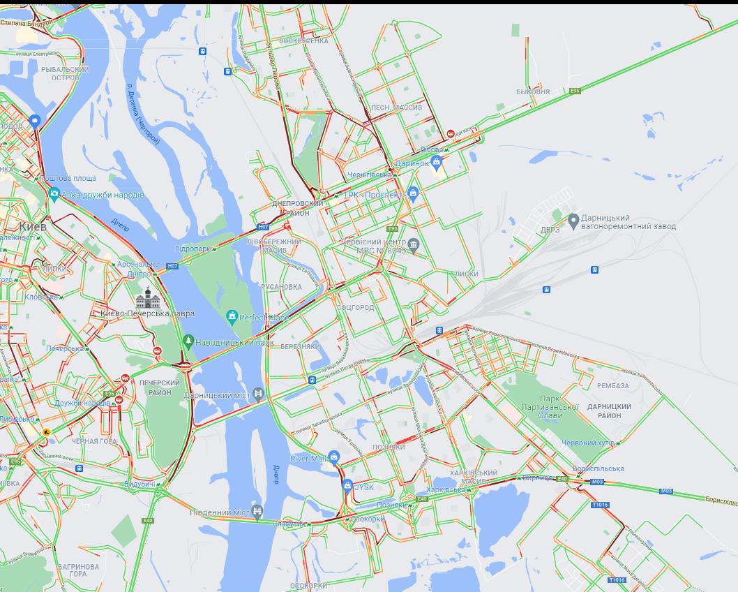 Пробки на левом береге. Карта: Google Maps