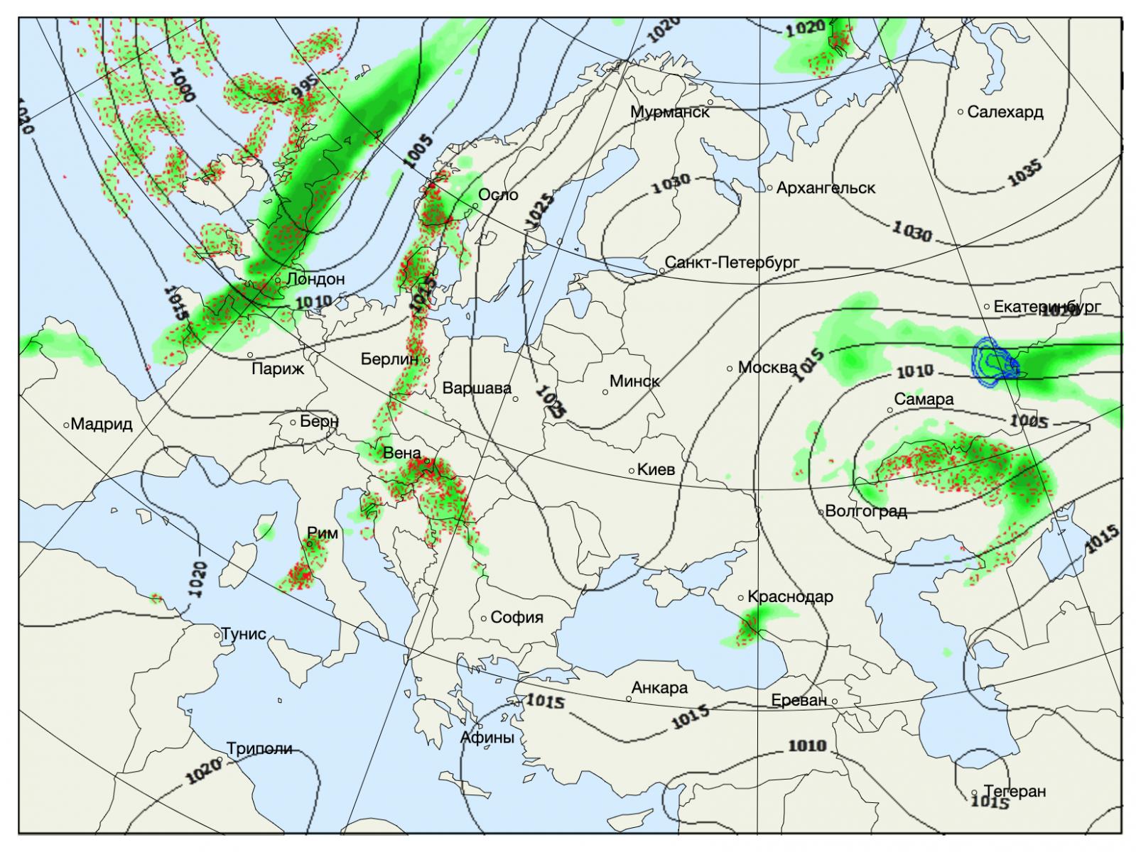 Осадки в Европе. Карта: Gismeteo