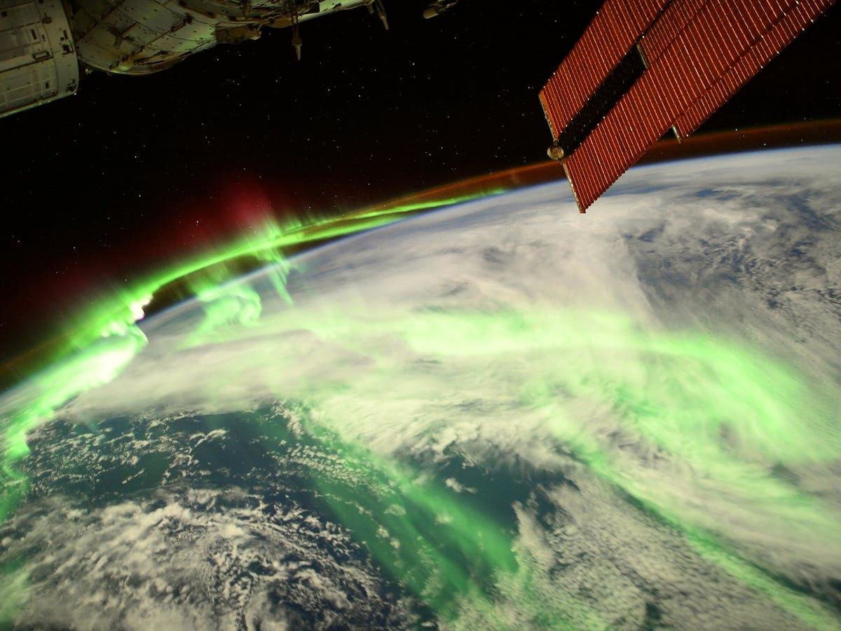 he aurora photographed from the ISS, 20 August 2021. (T. Pesquet/ESA/NASA)