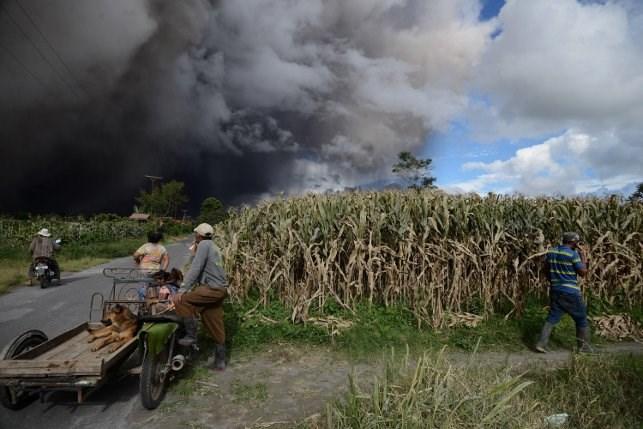 ВИндонезии тысячи туристов оказались заложниками из-за вулкана Синабунга